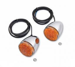Harley-Davidson® Turn Signal Kit - LED Bullet - Chrome - Amber Lens - Front
