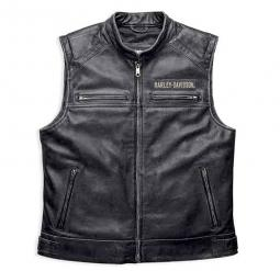 Harley-Davidson® Men's Passing Link Leather Vest | Charcoal Grey