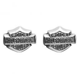 Harley-Davidson® Women's 3-D Bar & Shield Sterling Silver Post Earrings