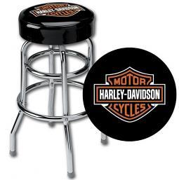 """Harley-Davidson® Bar & Shield Logo Black 30"""" Bar Stool w/ Chrome Legs"""