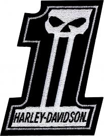 "Harley-Davidson® #1 Skull Black & White Logo Small Emblem Patch (3""x4"")"