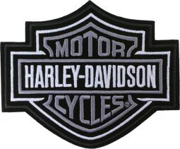 "Harley-Davidson® Bar & Shield Silver Emblem Patch (5.625""x4.625"")"