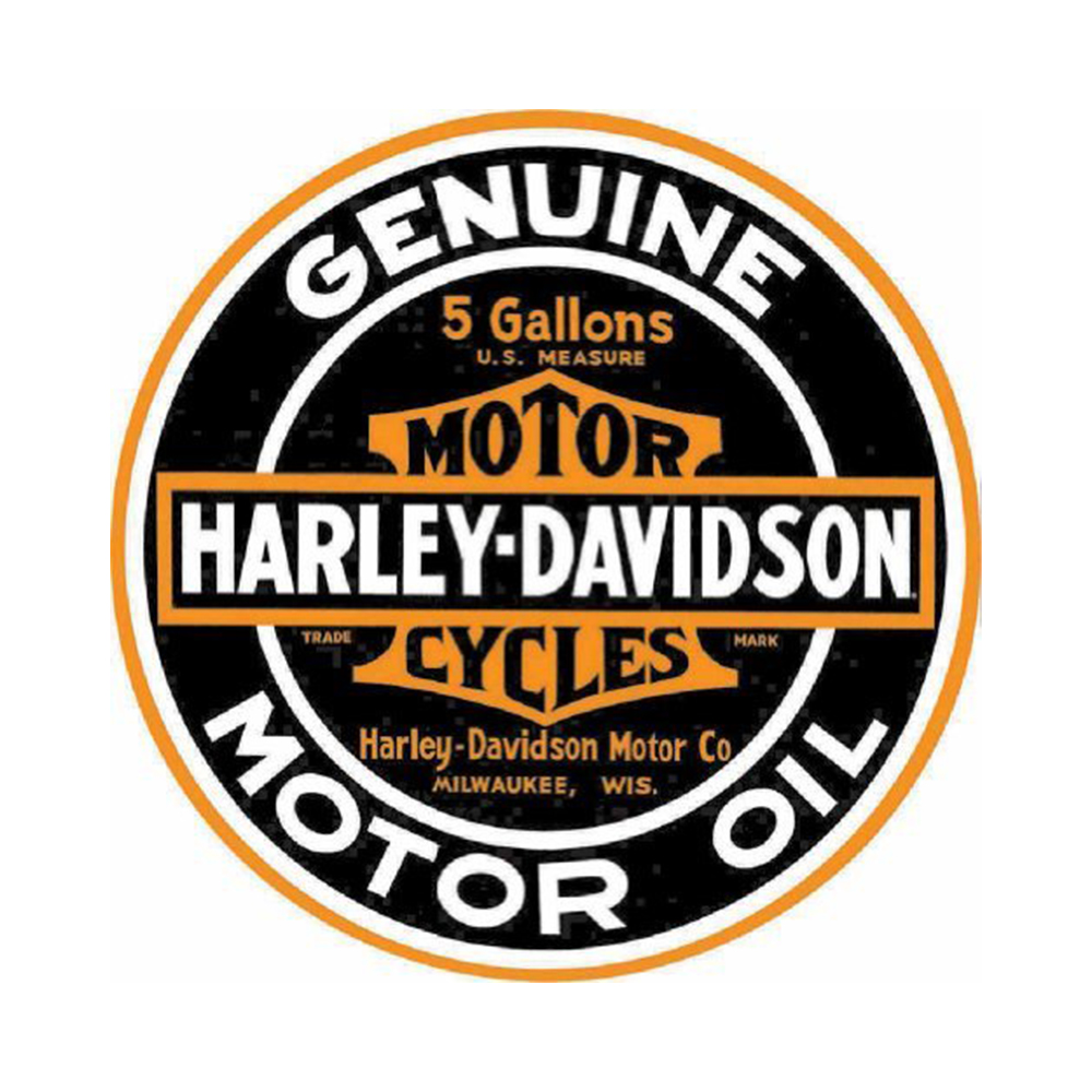"Harley-Davidson® Bar & Shield® Genuine Motor Oil Round Tin Sign | 14"" in Diameter"