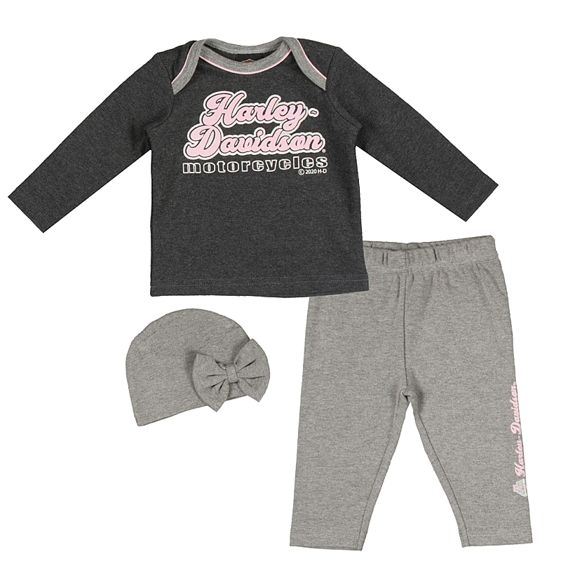 Harley-Davidson® Girls' 3-Piece Hanging Set | Gift Bag | 3 To 6 Month Size Only