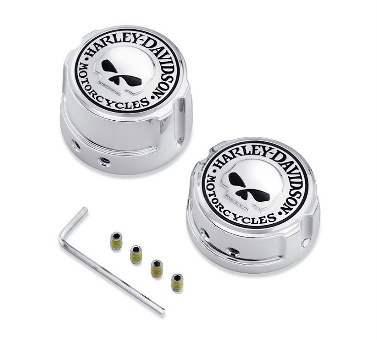 Harley-Davidson® Willie G® Skull Chrome Collection | Rear Axle Nut Cover Kit