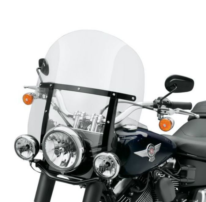 Harley-Davidson® King-Size H-D® Detachables™ Windshield for FL Softail® Models - 18 in. Light Smoke, Gloss Black Brace