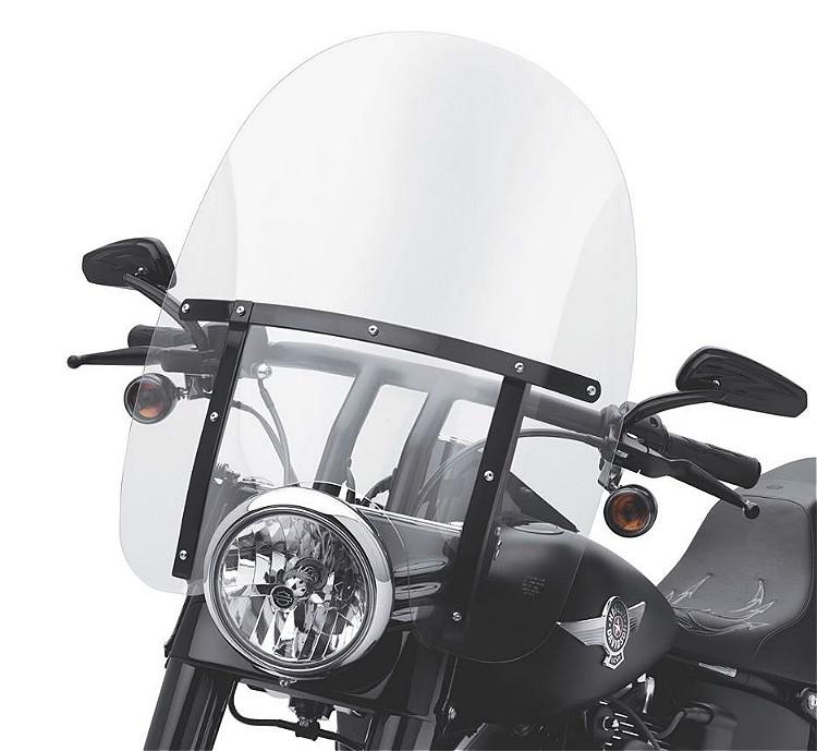 Harley-Davidson® Detachables™ 21 Inch Clear Windshield | Gloss Black Braces | FL Softail®