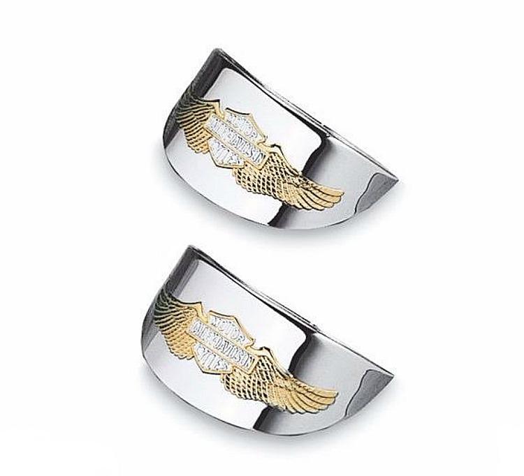 Harley-Davidson® Eagle Wing Flat Lens Turn Signal Visor - Gold & Chrome