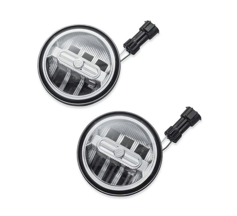 Harley-Davidson® Daymaker™ Signature Reflector LED Auxiliary Lamps | Chrome 4""