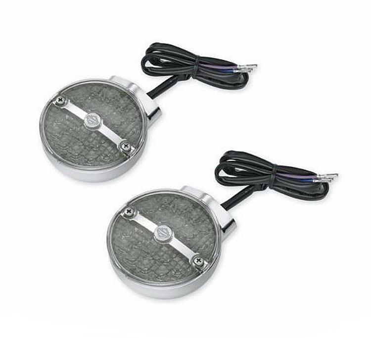 Harley-Davidson® Turn Signal Kit with Bar & Shield® Logo - LED Flat Lens - Front Smoked