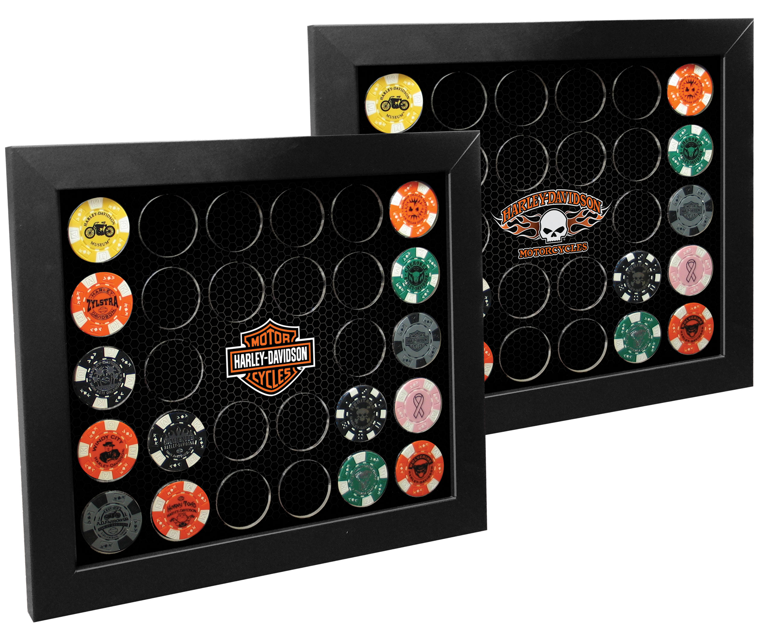 harley davidson black 28 poker chip collectors frame