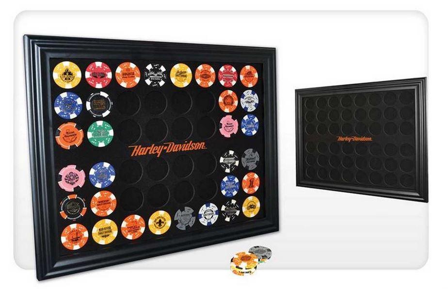 harley davidson black 48 poker chip collectors frame