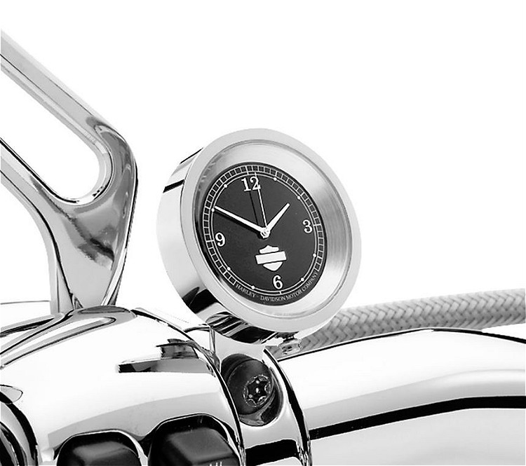 Harley-Davidson® Handlebar Clock | Chrome with Black Face