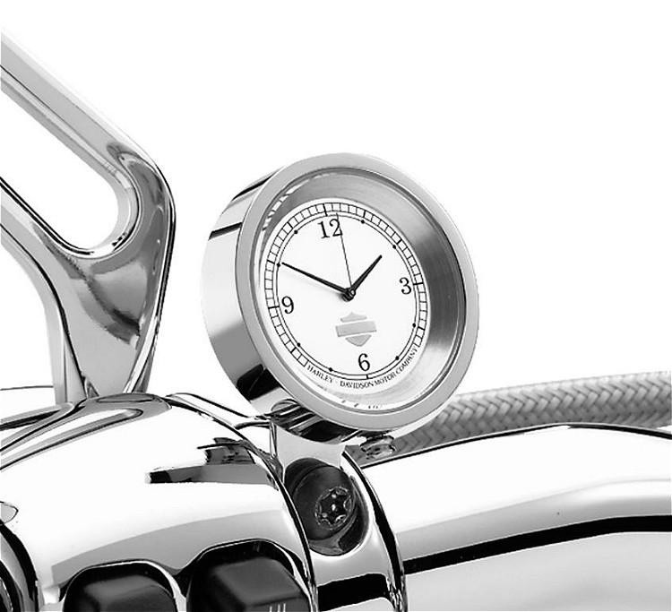 Harley-Davidson® Handlebar Clock | Chrome with Silver-tone Face