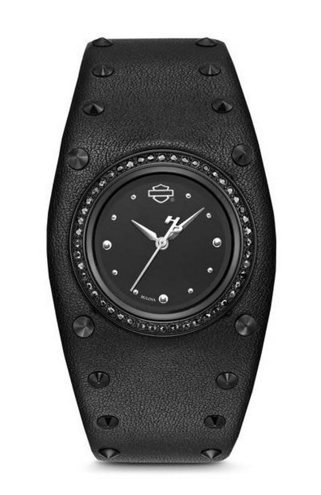 Harley-Davidson® Women's Stainless Steel Watch | Jet Black Crystals from Swarovski® | Black Leather Cuff