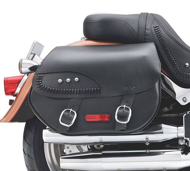 Harley-Davidson® Leather Saddlebags | Detachables | Fat Boy Lacing