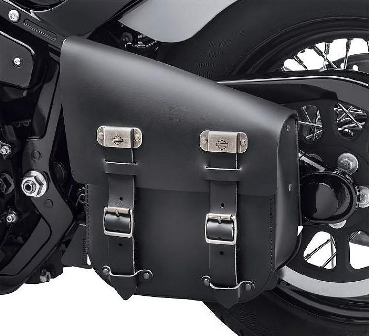 Harley-Davidson® Single Sided Swingarm Bag | Black Leather | '00-Later Softail® Models