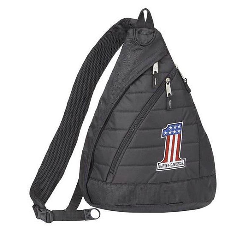 Harley-Davidson® RWB #1 Logo Quilted Sling Backpack | Piggy-Back Luggage Strap