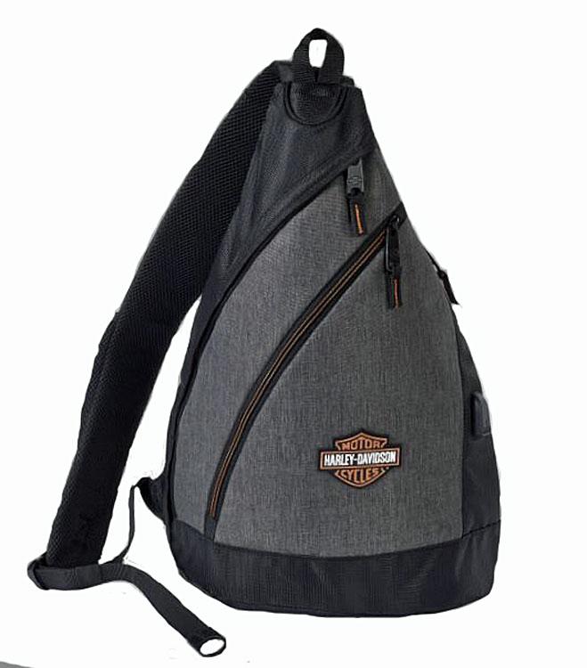 Harley-Davidson® Deluxe USB Heathered Grey Travel Sling Backpack | Bar & Shield® Logo | Portable Charging Option