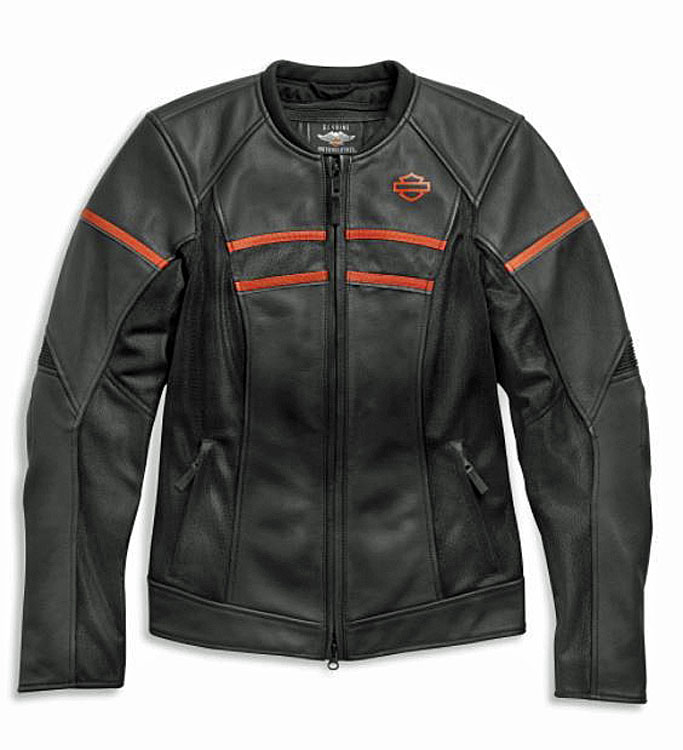 Harley-Davidson® Women's Brawler Leather Riding Jacket   Mesh Air Flow Panels   Removable Windproof Liner