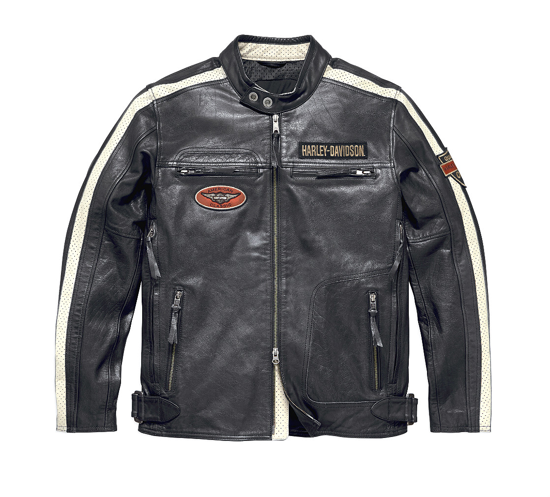 Harley-Davidson® Men's Command Leather Riding Jacket | Perforated Leather Sleeve Stripes