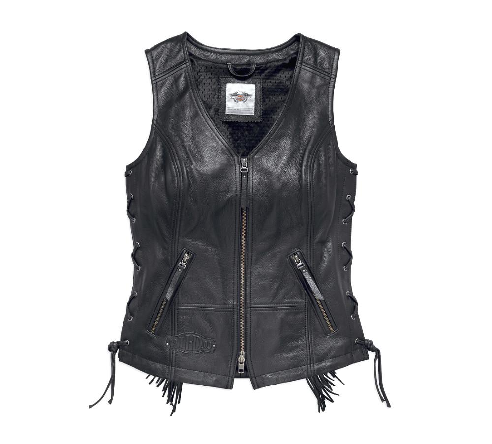 Harley-Davidson® Women's Boone Fringed Leather Vest | Deep V-Neckline