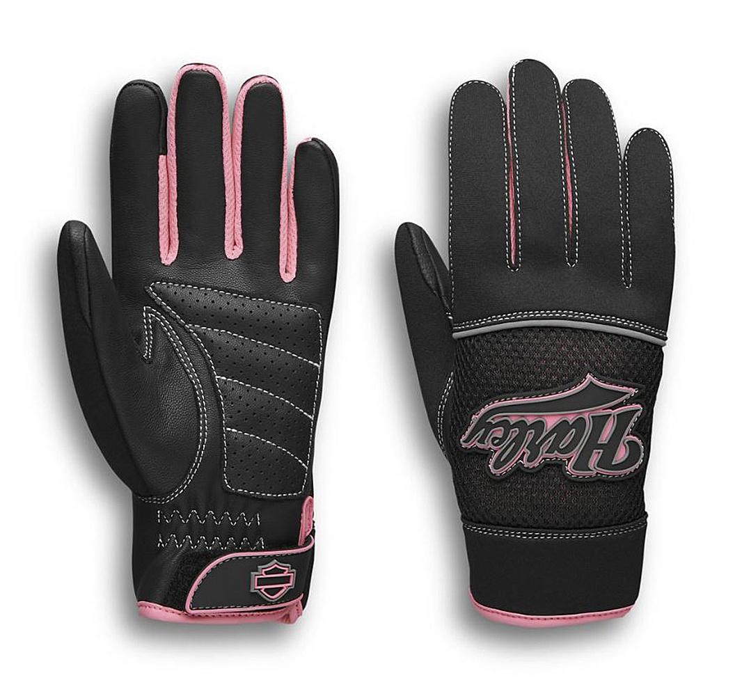 Harley-Davidson® Women's Pink Label Mixed Media Gloves | Touch-Screen Compatible