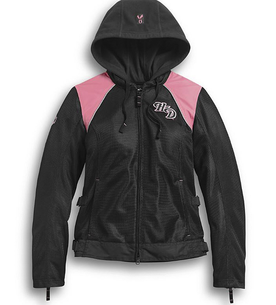 Harley-Davidson® Women's Pink Label 3-In-1 Textile Riding Jacket | Mesh Shell & Lining | Removable Hoodie