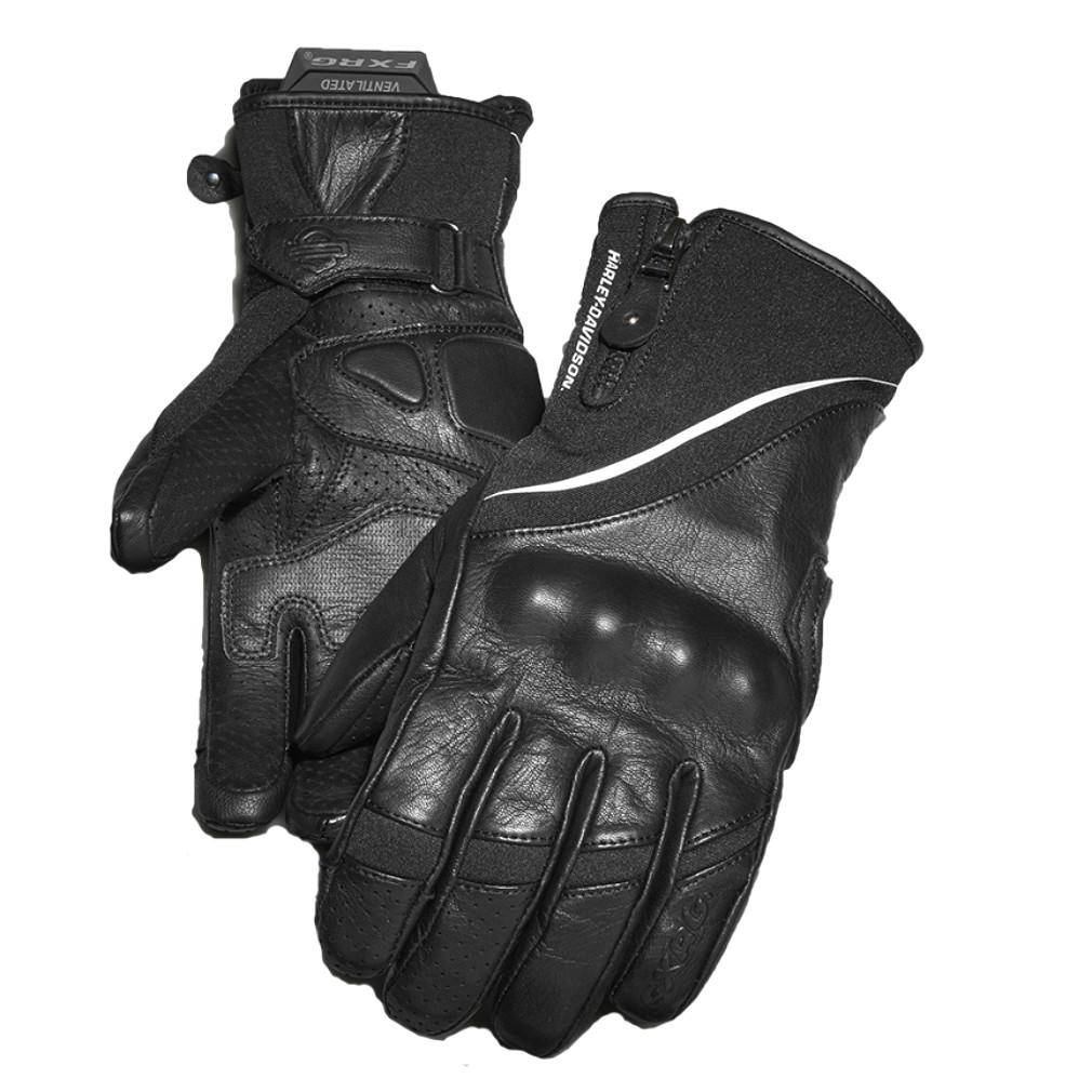 Harley-Davidson® Women's FXRG® Under-Cuff Gauntlet Gloves | Dual-Chamber | Zipper Closure | Adjustable Wrist Tab