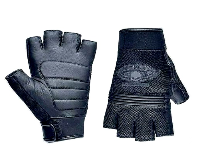 Harley-Davidson® Men's Winged Skull Fingerless Gloves