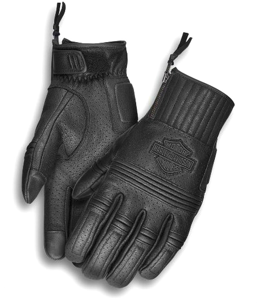 Harley-Davidson® Men's Layton Perforated Leather Gloves | Zipper Closure | Touch-Screen Compatible