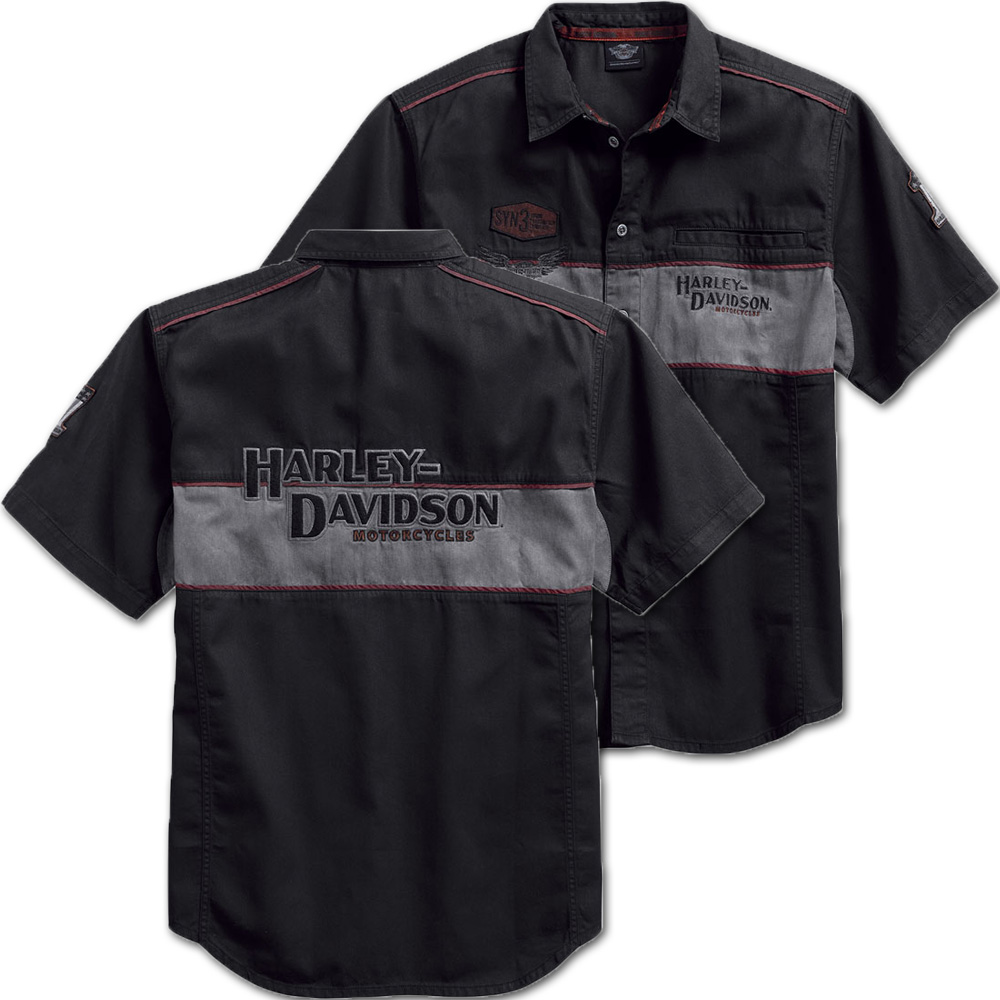 Harley Davidson Mens Iron Block Work Shirt 99018 17vm