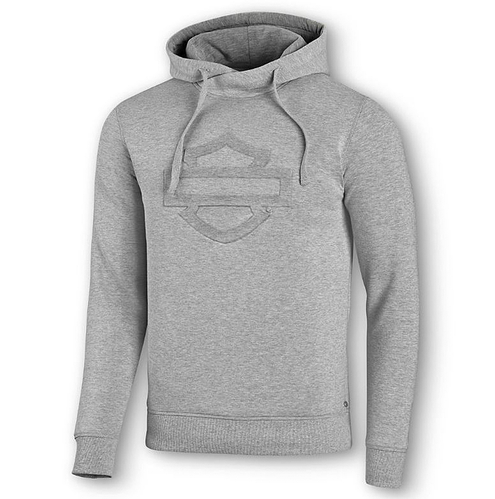 Harley-Davidson® Men's Embossed Bar & Shield® Logo Grey Pullover Hoodie | Interlock Knit | Slim Fit