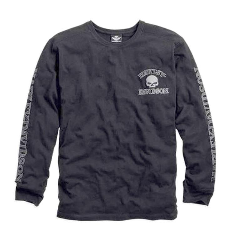 harley-davidson® men's skull long sleeve tee black 99091-14vm