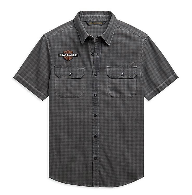 Harley-Davidson® Men's Vintage Logo Plaid Shirt | Yarn Dyed | Short Sleeves