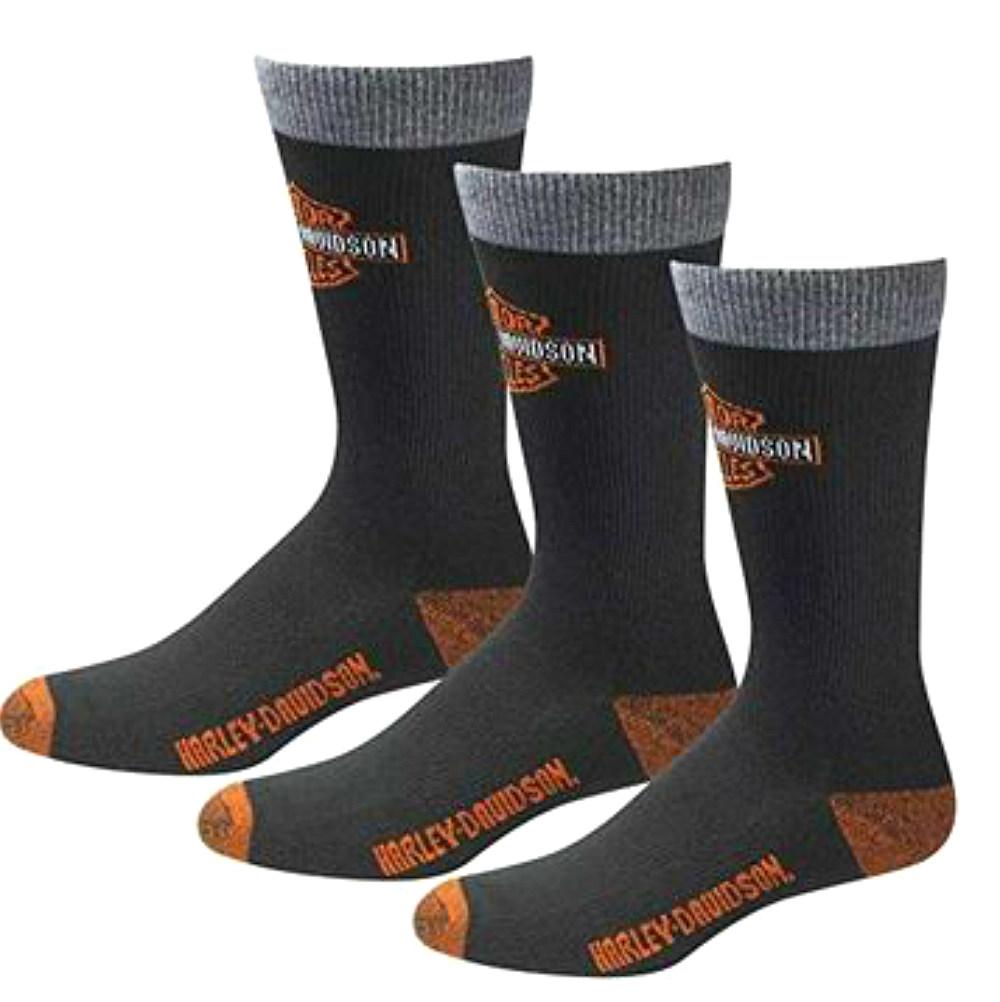 Harley-Davidson® Men's 3-Pack Black Rider Socks | Moisture-Wicking | Mid-Calf Fit