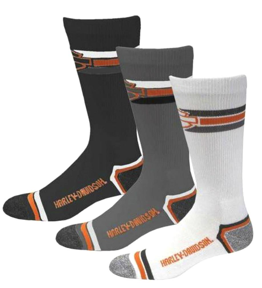 Harley-Davidson® Men's Retro Rider Socks   Multi-Color 3-Pack   Moisture-Wicking   Mid-Calf Fit