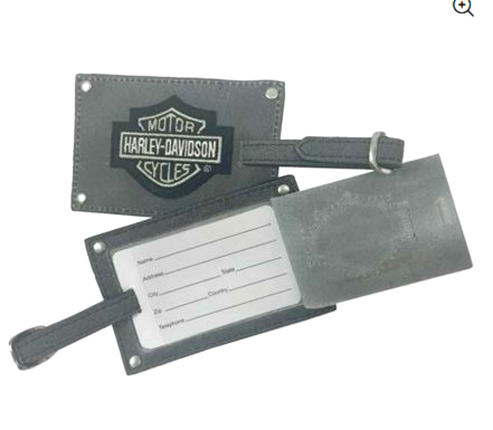 Harley-Davidson® Leather Luggage Tags | Privacy Flap | Set of Two