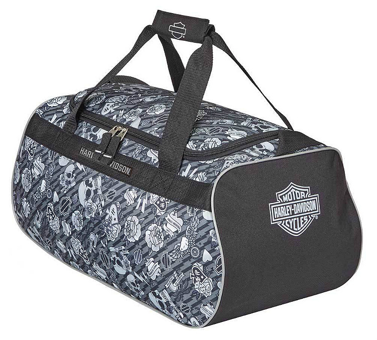 Harley-Davidson® Grey Tattoo Sports Duffel Bag   Adjustable Strap