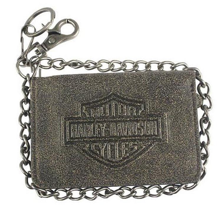 "Harley-Davidson® Men's Burnished Bar & Shield® Medium Biker Wallet | Bi-Fold | RFID Protection | Zipper Coin Pocket | 19"" Chain"