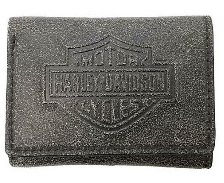 Harley-Davidson® Men's Burnished Bar & Shield® Tri-Fold Wallet | RFID Protection