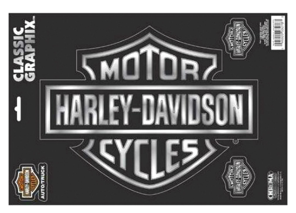 Harley-Davidson® Bar & Shield® Logo Chrome Decals | Large