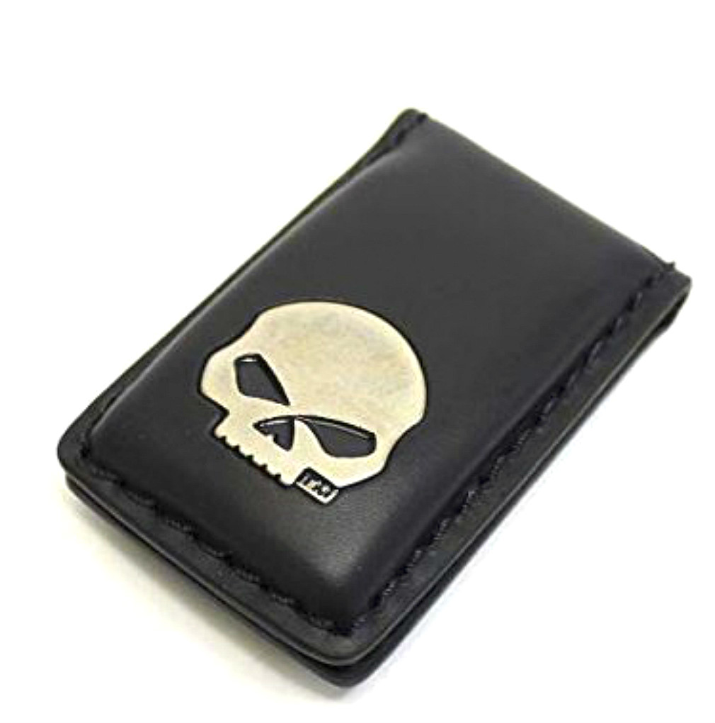 Harley-Davidson® Men's Willie G® Skull Medallion Money Clip | Black Leather | Magnetic Close