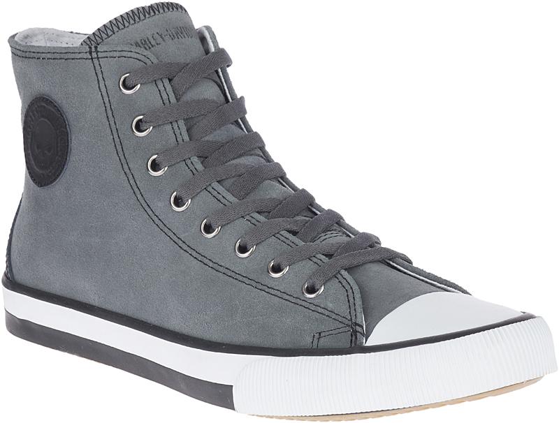 HARLEY-DAVIDSON® FOOTWEAR Men's Filkens Leather High Top Sneakers | Lifestyle Casual | Grey