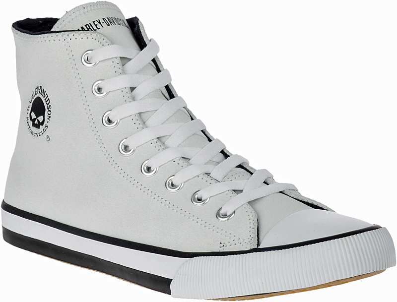 HARLEY-DAVIDSON® FOOTWEAR Men's Baxter Leather High Top Sneakers | Lifestyle Casual | White