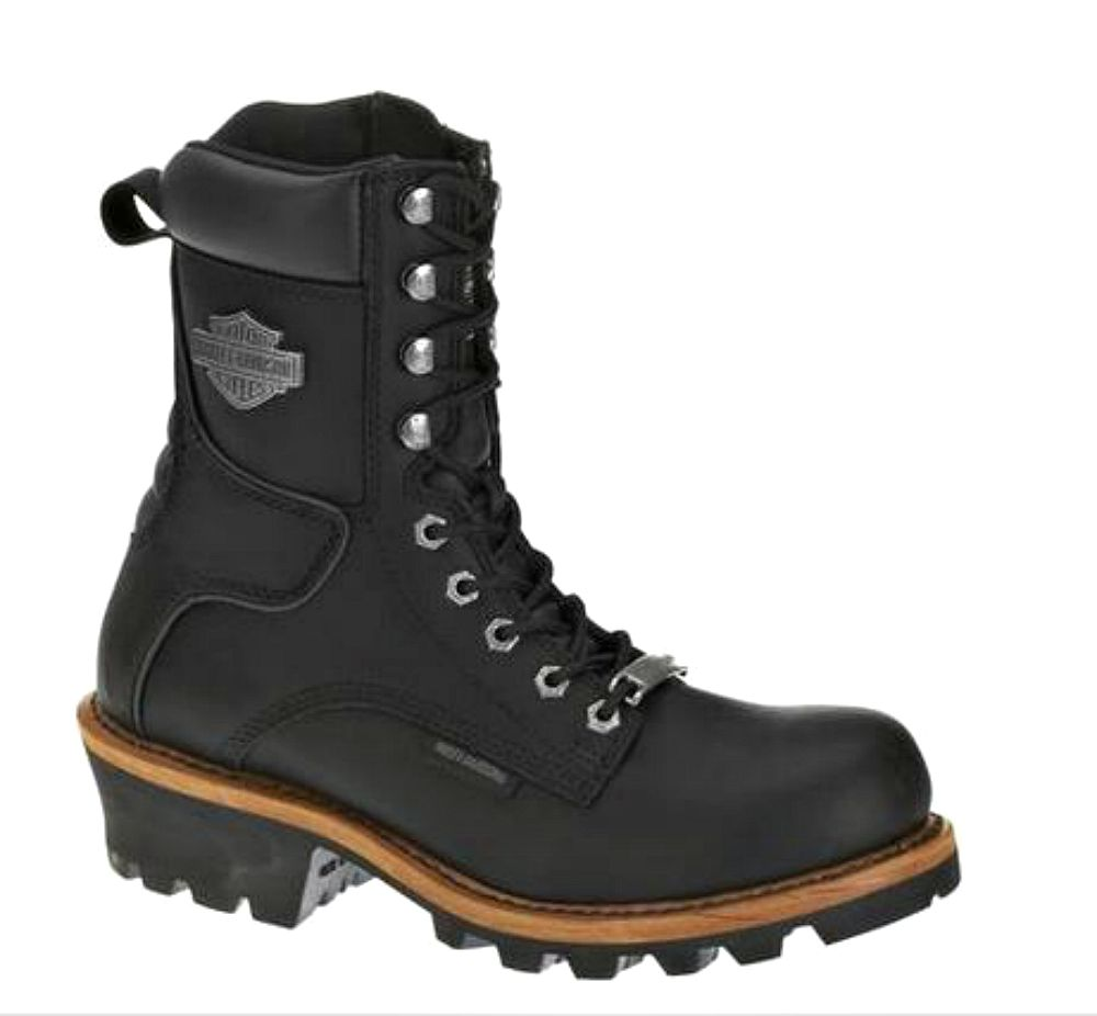 Harley-Davidson® Men's Tyson Logger Black Leather Motorcycle Boot
