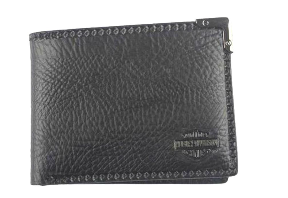 Harley-Davidson® Men's Gunmetal Leather Billfold Wallet   Removable ID Sleeve