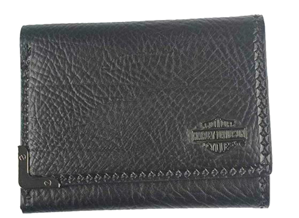Harley-Davidson® Men's Gunmetal Leather Tri-Fold Wallet   Bar & Shield® Medallion