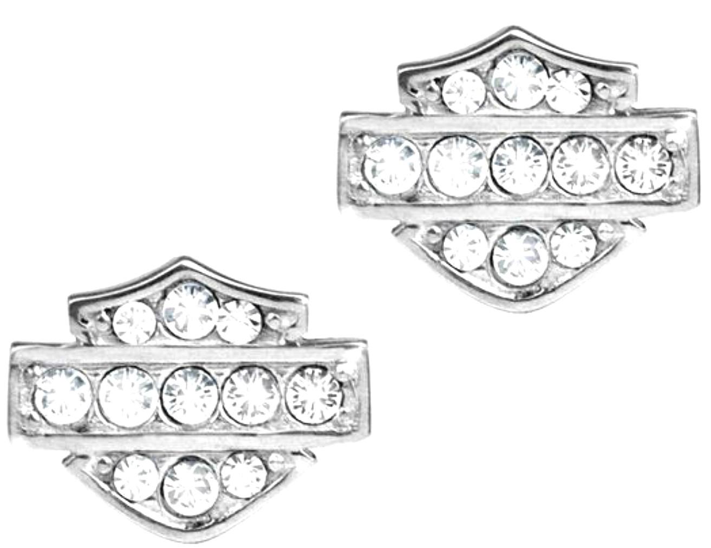 Harley-Davidson® Women's Bar & Shield® Petite Post Earrings   White Bling