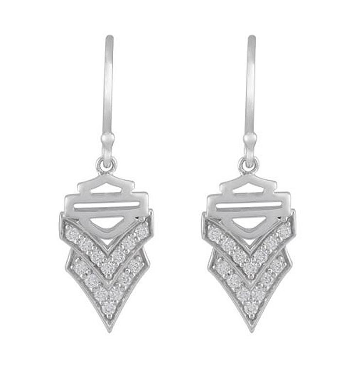 Harley-Davidson® Women's Chevron White Bling Drop Earrings   Bar & Shield®